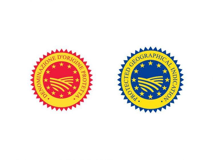 左:DOP(原産地保護呼称)右:IGP(地域保護表示)の商標マーク