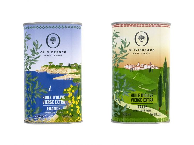 「レコルトレゼルヴェ」のデザイン缶に入ったオリーブオイル。左からフランス産マ・ド・パニス、右はイタリア産アグレスティ。お洒落なデザイン缶はギフトやインテリアにもおすすめです。