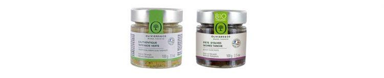 左から、グリーンオリーブのタプナードと、オーガニック栽培のBIOブラックタプナード。
