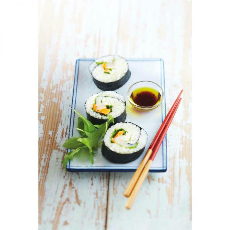 ホタテ貝の巻き寿司 和食とオリーブオイルを合わせて